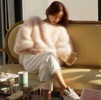Fashion NEUE Damen Kaschmirpullover Kurzgröße Pelzmantel Warm Pelz Coat Fur