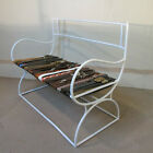 Vintage 1930s Painted Steel Art Deco Bench ''Upholstered'' In High Fashion Belts