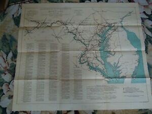 LARGE Map 1932 Routes Traveled by George Washington in Maryland , Hoen Litho