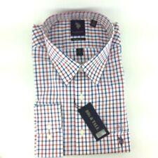 US Polo Assn Mens Shirt Big 2 XL 34/35 Button Up Long Sleeve White Red Blue