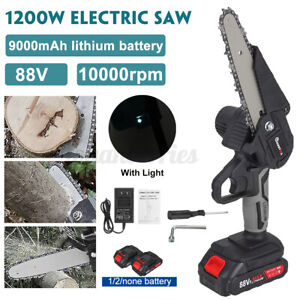 6 Inch 1200W Electric Chain Saw Pruning Chain Saw Cordless Garden Tree Logging