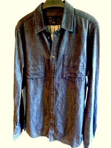 MARC by Marc Jacobs M Navy cotton & rayon denim long sleeve shirt (2993