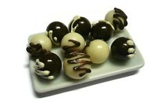 10 MINIATURE Chocolate Ball Bakery on Plate DOLLHOUSE MINIATURE FOOD DECO