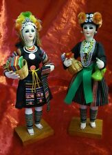 Set of Two Thai Dolls in Native Colorful Costume from Thailand Hand Made of Wood