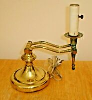 Vintage Unusual Brass & Metal Adjustable Table / Desk Lamp - Works - No Shade