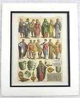 1895 Antico Stampa Antico Romana Empire Costume Moda Storico Textiles Art