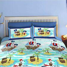 Pirates 'Seven Seas's navires Housse De Couette Double Set Neuf Enfants Garçons Literie Bleu