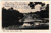 Ansichtskarte Halle an der Saale - Saale am Trothaer Felsen mit Boot - 1938 s/w