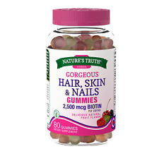 Hair, Skin & Nails Vitamins & Biotin 2500mcg Natural Fruit Supplement 80 Gummies