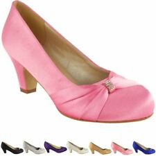 595f9a7e8be Pink No Doubt Wedding Shoes Ladies Low Mid HEELS Bridal Bridesmaid Party  Size 6