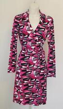 Diane von Furstenberg New Jeanne Two Sharp Plaid Pink Black 6 wrap dress shape