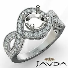 Round Semi Mount Halo Pave Set 0.45Ct Diamond Engagement Platinum Milgrain Ring