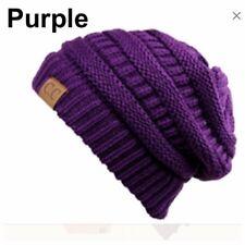 Men Women Plain Beanie Cap Slouch Bubble Knit oversize Baggy Winter Ski Hat NEW