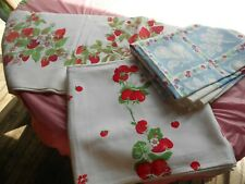 VINTAGE  50's TWO STRAWBERRY AND BLUE MIXED FRUIT TABLECLOTH