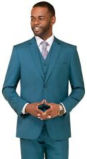 New Men's Suit 3 Piece Suit TEAL GREEN Suit Wedding Suit w/t Vest THREE PIECE