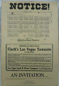 Las Vegas Land Townsite Public Auction Vintage 1978 Poster Union Plaza Downtown