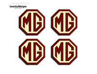 MG ZR ZS Alloy Wheel Centre Badges Burgundy & Cream 45mm