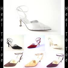 New Ladies Satin Sling Back Wedding Bridal Heels Shoes