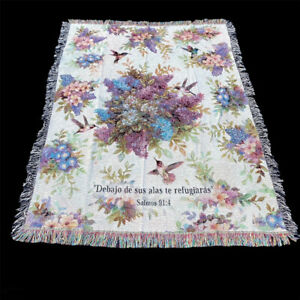 Whisper Wings Hummingbirds & Floral Tapestry Afghan Throw with Hispanic Verse