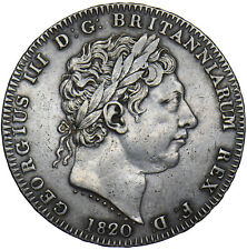 More details for 1820 crown - george iii british silver coin - nice