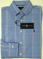NWT $98 Polo Ralph Lauren Performance Long Sleeve Shirt Mens S L Blue Plaid NEW