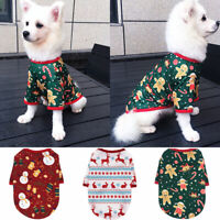Various Cute Pet Dog Clothes Christmas Snowman T Shirt Vest Small Cat Puppy Soft