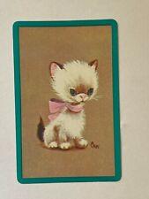 SINGLE 1 PLAYING SWAP CARD - WHITE KITTEN PINK RIBBON    (TT467S)