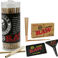 RAW 50 Pack Classic 1 1/4 Size Pre-Rolled Cones +Tips With Raw Cone Loader