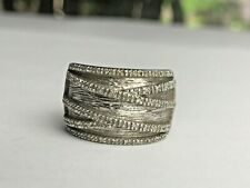 Signed Sterling Silver 925 Womans Wide Band Diamond Ring 7.0 Grams Gorgeous!