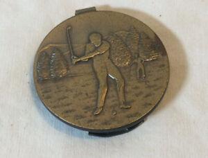 """HTF Vintage Brass Anson Golfer Money Clip, Round, 1.5"""""""