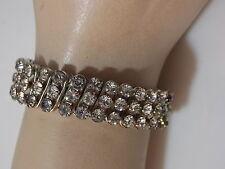 Vintage Expandable Rhinestone Bangle Silver Bracelet British Hong Kong 10d 54
