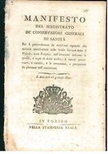 MANIFESTO MAGISTRATO SANITA 1800 PIEMONTE SAVOIA MALATTIE BOVINI VAIOLO FONZETTO