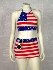 Ms America Sexy Red White Blue American Flag Mini Skirt Halter Thong Sunglasses