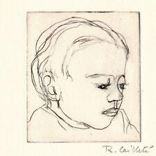 Gravure originale signée Roger Cailleté et envoi autographe signé enfant