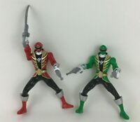 "Power Rangers Super Megaforce Green Red Lot 6"" Battle Action Figures Toys Bandai"