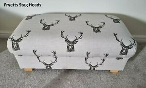 Large Footstool Fryetts Stags Head Fabric Charcoal Grey Pouffe Footstall Accent