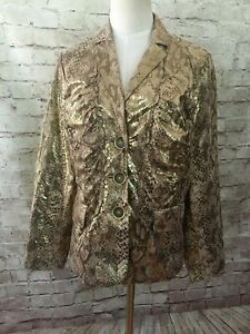 CHICOS 1  Gold Metallic Snakeskin LAYLA Jacket Long Sleeve Ruched Button Front