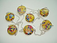 """Blue Silver 7 Station Necklace 28-36""""+ Ab One-of-a-Kind Yellow Mosaic Jasper Red"""