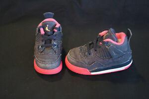 Nike Air Jordan Retro 4 toddler girls size 6c obsidian denim/pink 705345-408