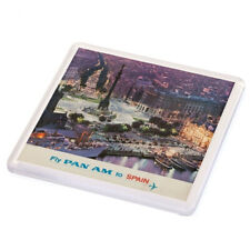 Vintage Travel Poster Drink Coaster - Fly Pan Am to Spain