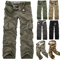 Mens Cargo Camo Combat Military Army Long Pants Hiking Casual Pocket Trousers