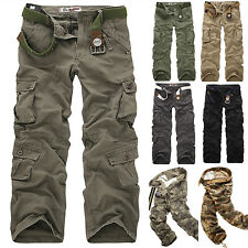 Military Men's Cotton Cargo Pants Combat Camouflage Camo Army Hiking Trousers