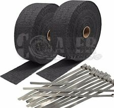 """2 Black Exhaust/Header Heat Wrap, 2"""" x 50' Roll with Stainless Steel Ties NEW"""