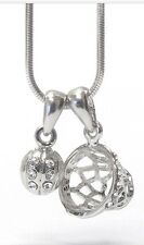 Basketball Goal And Ball Pendant Necklace Clear Rhinestone White Gold Plated