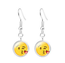 Emoji Face Expressional Dangle Earring Glass Cabochon Cute Smile Earrings #1