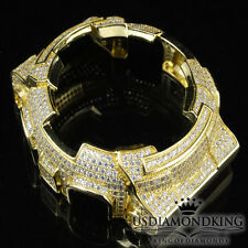 MENS WOMENS CUSTOM G-SHOCK BEZEL 14K YELLOW GOLD FINISH DIAMOND SIMULATED GA 100