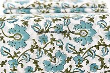 5 Yard White Green Block Printed 100% Cotton Fabric Dabu Voile Apparel Fabric