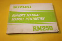 OEM SUZUKI 1981 RM250 OWNERS MANUAL ENGLISH/FRENCH PART# 99011-14320-01B