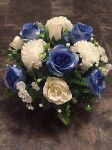 New Stunning Artificial Flower Arrangement Blue/Ivory In Black Pot For Grave