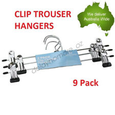 9pack Metal Clip Trouser Hangers Clothes Steel Hanger Pants Skirts Coat Clamp
